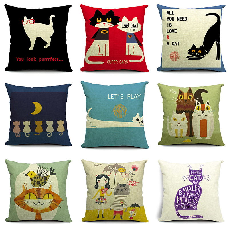 Cute Cartoon Cat Printed Cotton Linen Pillowcase Decorative Pillows Cushion Use For Home Sofa Car Office Almofadas Cojines