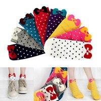 10 пар/лот Карамельный цвет для девочек хлопковые носки 3D в горошек с бантом носки до лодыжки Осень-зима эластичные носки до лодыжки