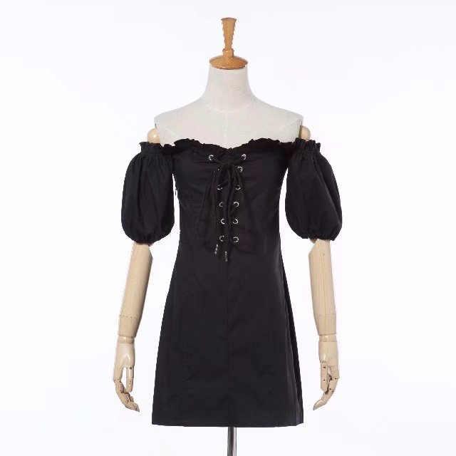 Kpop, черное, розовое, Дженни, уличная одежда, хаки, на шнуровке, одно слово, воротник, платье, женское, корейское, кавайное, с пышными рукавами, сексуальные платья, женская одежда