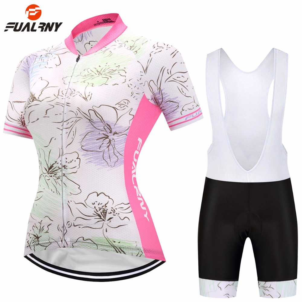 FUALRNY Summer Short Sleeve Cycling Sets with Bib Breathable MTB Road Mountain Bike Clothing Women Bicycle Clothes Ropa Ciclismo