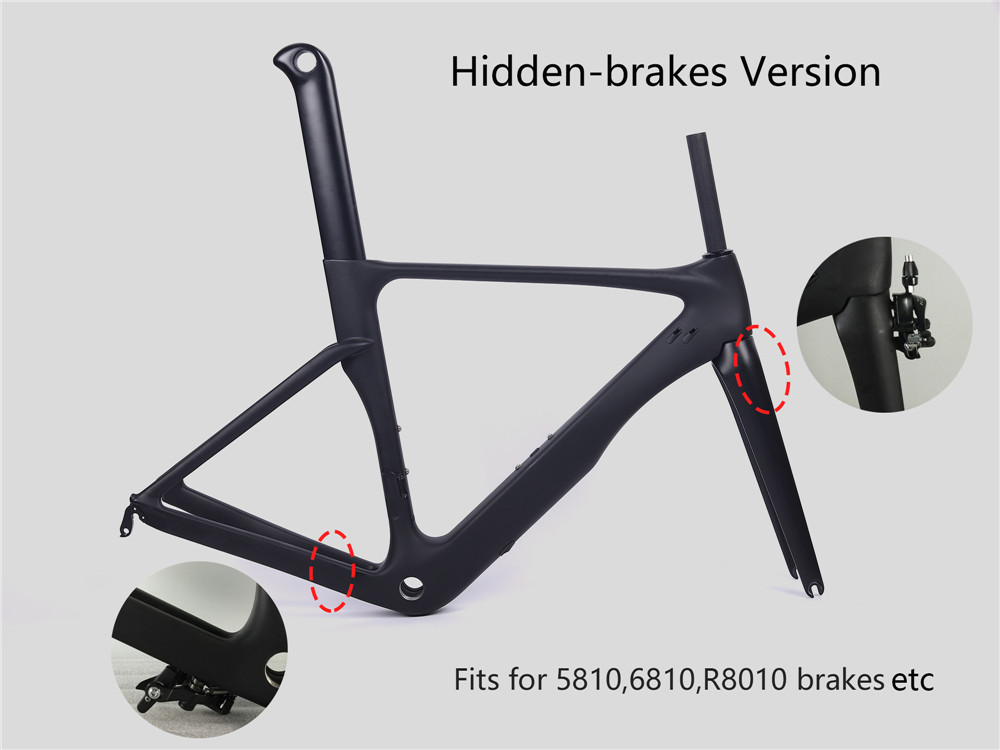LURHACHI NX250 Hidden Brakes Version Aero Carbon Fiber Bicycle Frame BB30 or BSA Road Aero Bike Carbon Frame 49/52/54/56/58cm carbon road frame 2017 high quality ud carbon road bike bicycle frame 49 52 54 56 58cm carbon frame red yellow bicycle parts