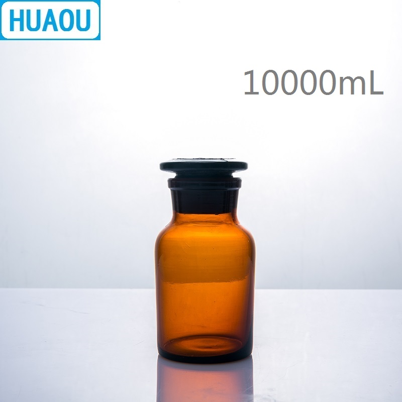 HUAOU 10000mL Wide Mouth Reagent Bottle 10L Brown Amber Glass with Ground in Glass Stopper Laboratory Chemistry Equipment 5000ml wide mouth reagent bottle 5000ml glass reagent bottle with ground in glass stopper transparent glass bottle