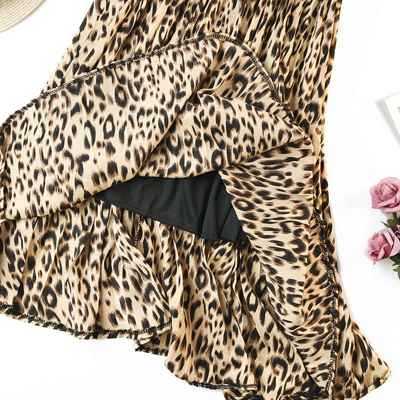 Surmiitro Luipaard Print Geplooide Midi Rokken Vrouwen Lente Herfst 2020 Koreaanse Lady Roze Groen Hoge Taille A-lijn Lange Rok Vrouwelijke