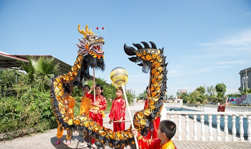 ec10ed64a 10.3m 10 kid Black gold children size CHINESE DRAGON DANCE Gold-plated Folk  party