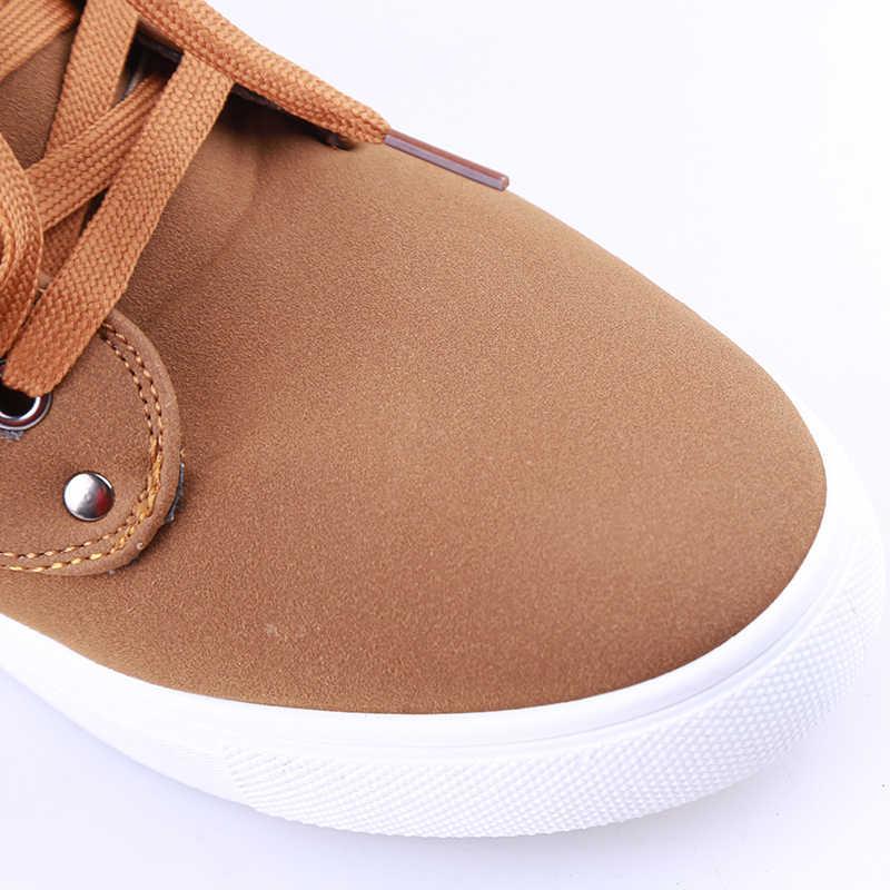 1 คู่ใหม่ยี่ห้อส้นแบนรองเท้าผู้ชายฤดูใบไม้ร่วงฤดูใบไม้ร่วงฤดูหนาวรองเท้าบูท Snow Boots ผู้ชายสไตล์สบายๆสไตล์อังกฤษผ้าใบรองเท้า