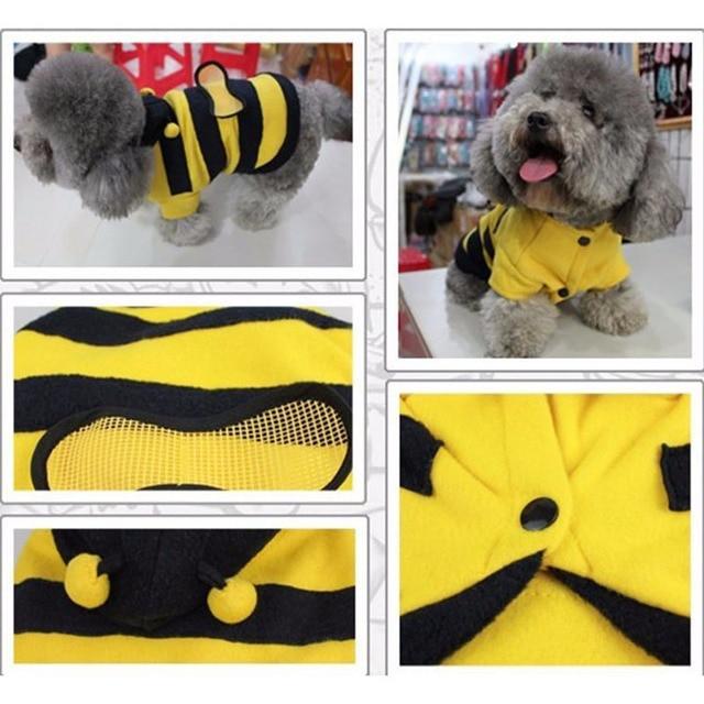 1Pcs Pet Clothes Cute Bees Dog Cat Clothes Soft Fleece Teddy Poodle Dog Clothing Pet Product Supplies Accessories 7z-ca217 2