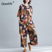 QoerliN Two-piece Imitation Silk Pants Suit Spring Summer Irregular Shirt Large Size Women Loose Ankle-Length Trouser Set Female