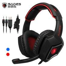 Sades дух волка Проводная гарнитура шлем Аудио Стерео Игры 3.5 мм наушники с микрофоном для портативных компьютеров PC Gamer