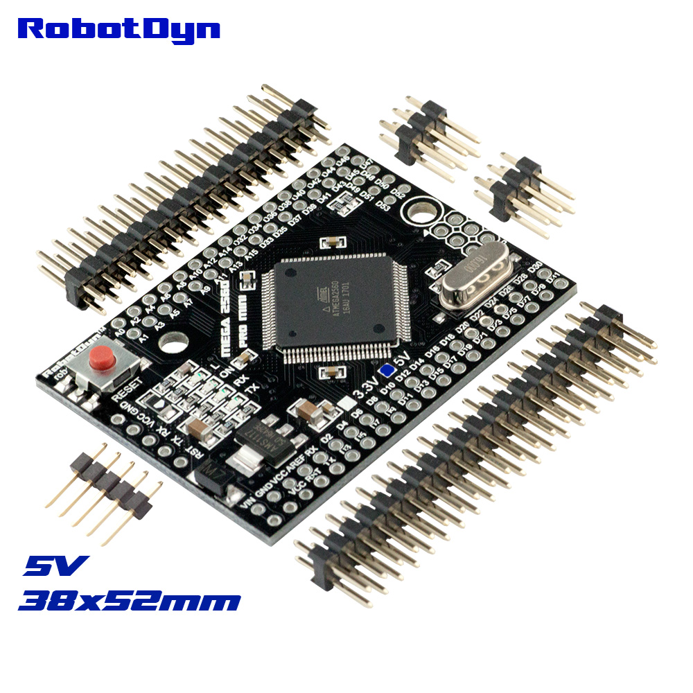Mega 2560 PRO MINI 5V, ATmega2560-16AU, with male pinheaders. Compatible for Arduino Mega 2560.