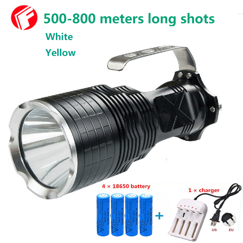 Powerful LED Flashlight Hunting 18650 cree xm-l2 Yellow White 2 color optional Outdoor lighting waterproof Portable light m1306 10w 1000lm waterproof yellow light motorcycle led bulb w cree xm l u2 silver