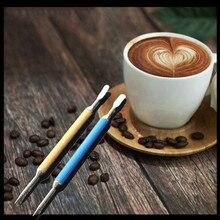 1 шт. Корейский цветной кофе латте пена художественная ручка игла шпатель Бариста инструмент для украшения из нержавеющей стали художественная ручка необычная кофейная палочка