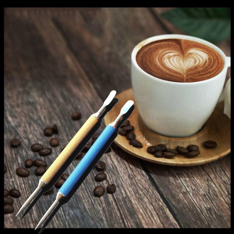 1pc Korean Colorful Coffee Latte Foam Art Pen Needle Spatula Barista Decorating Tool Stainless Steel Art Pen Fancy Coffee Stick