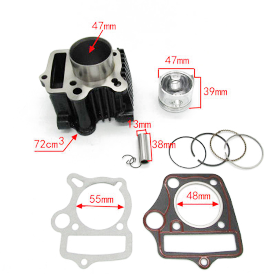 Image 5 - Cylinder Piston Gaskets Kit For HONDA ATC70 CT70 C70 TRX70 CRF70 CRF70F DAX70 ST70 XR70 70CC 72CM3-in Engines from Automobiles & Motorcycles