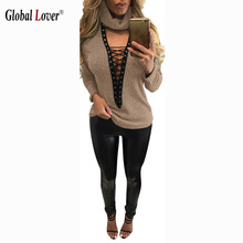2016 Vintage Hollow Out Sexy Blouses Shirt Womens Long Sleeve Tops Plus Size Fashion Front Lace Up Top Blouse Lady Causal Blusas