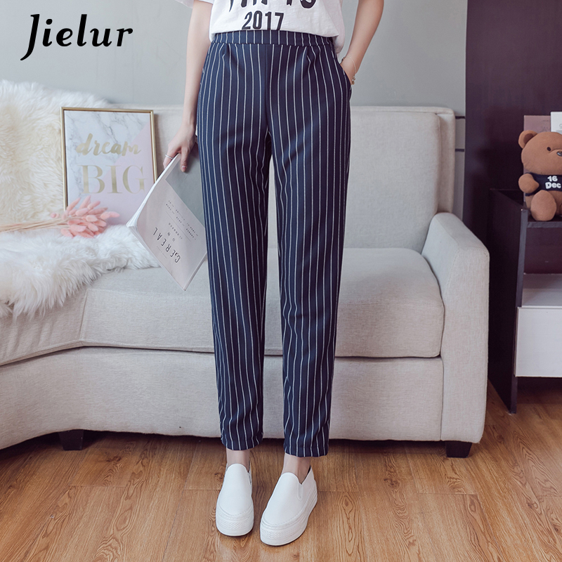 Jielur Casual Elastic Waist Harem Pants Vertical Striped Gray Women's Trousers Loose Slim Korean Pantalon Ladies Classic XS-XXL