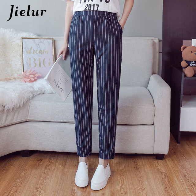 Jielur England Casual Elastic Waist Women's Trousers Striped Korean Loose Slim Ladies Harem Pants Classic Capris XS-XXL Dropship