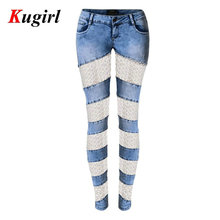 Europe America Jeans Women sexylady Bud silk Hollow out stretch slim jeans personality stylish pencil capri jeans foot pants