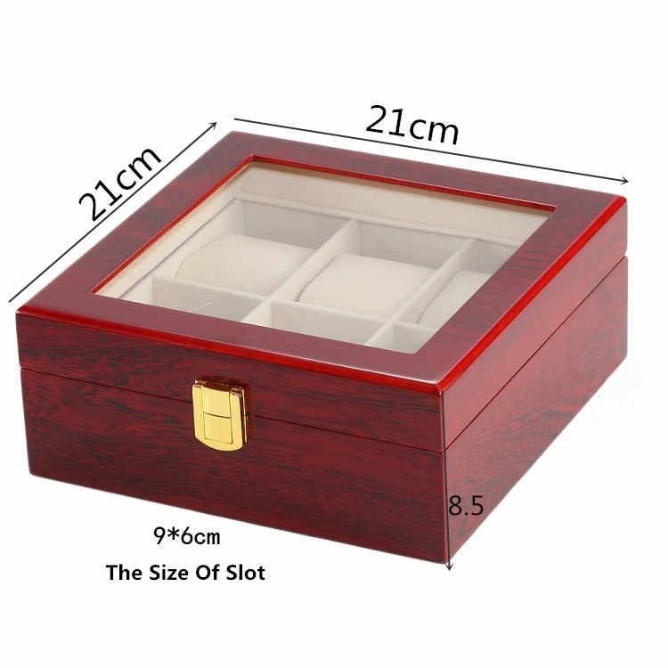 6 слотов черный Цвет часы коробка для хранения Красный МДФ Часы Дисплей случае мужские Вышивка Крестом Пакет Jewelry коллекции подарочной коробке с окном c026