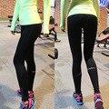 Ribete reflectante legging pantalón negro gimnasio Legging mujeres pantalones pista de trabajo la ropa de entrenamiento hembra legging de rayas N169