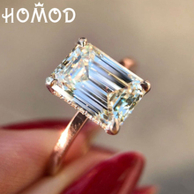 HOMOD Shining Big Champagne AAA Zircon Rings For Women Unique Square Crystal Gold Color Wedding Luxury Ring Wholesale blucome luxury aaa zircon copper ring clear cz micro pave gold color rings for women flower big long section finger ring wedding