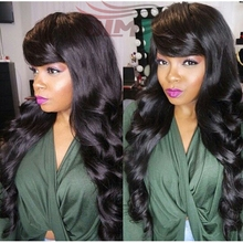 DLME Queen Hair Virgin Peruvian Human Hair Customized Side Bangs Glueless Full Lace Hair Wig Peruvian