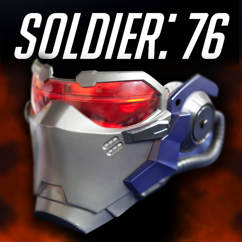 Soldier 76 Cosplay Mask ABS LED Lighting Mask Cosplay Prop Halloween Gaming Player Collection Mask Gift Drop Ship