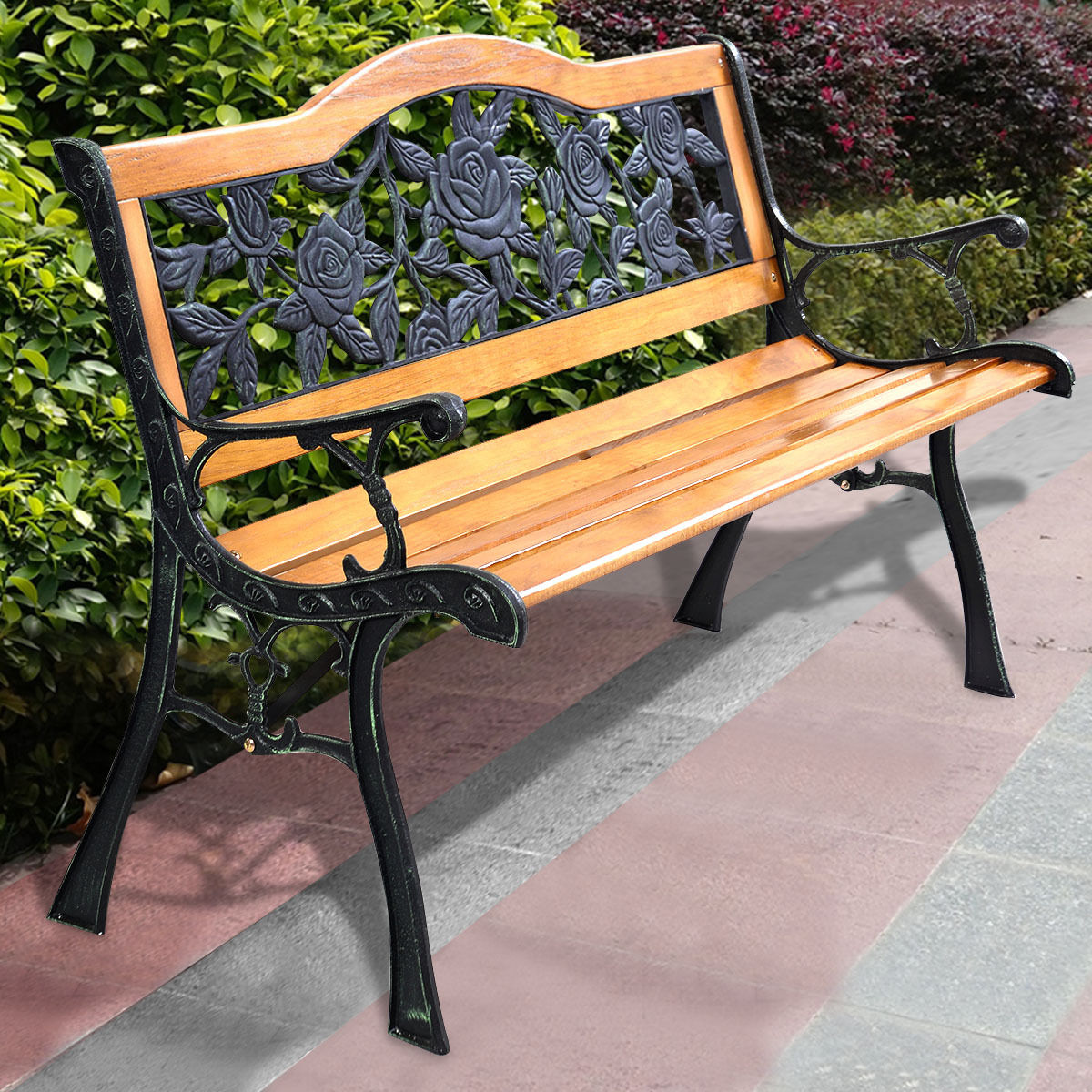 Giantex Patio Park Garden Bench Porch Path Chair Outdoor Furniture Cast Iron Hardwood Back Rosed Benches OP2785
