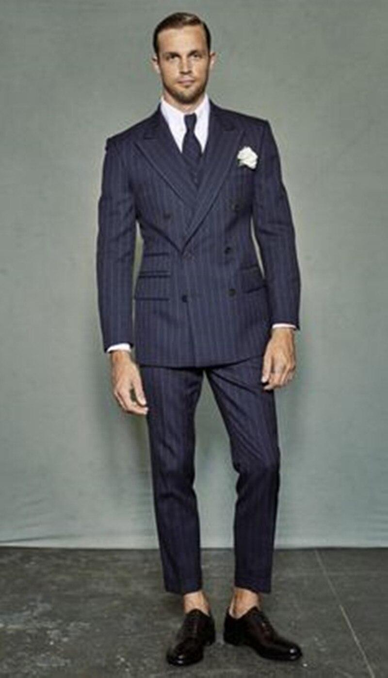 2017 Custom Slim Fit tuxedo jacket mannen Marineblauwe Notch Revers Bruidegom Smoking Mannen Pakken Man Business mannen Jasje + broek + vest + tie - 2