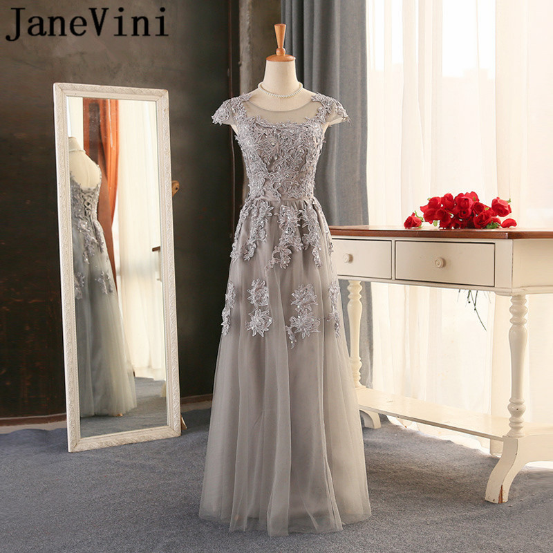 JaneVini Gray Lace Appliqued Ladies   Dresses   For Wedding Party 2018 Tulle Long Beaded Sequin   Bridesmaid     Dresses   Girl Women A Line