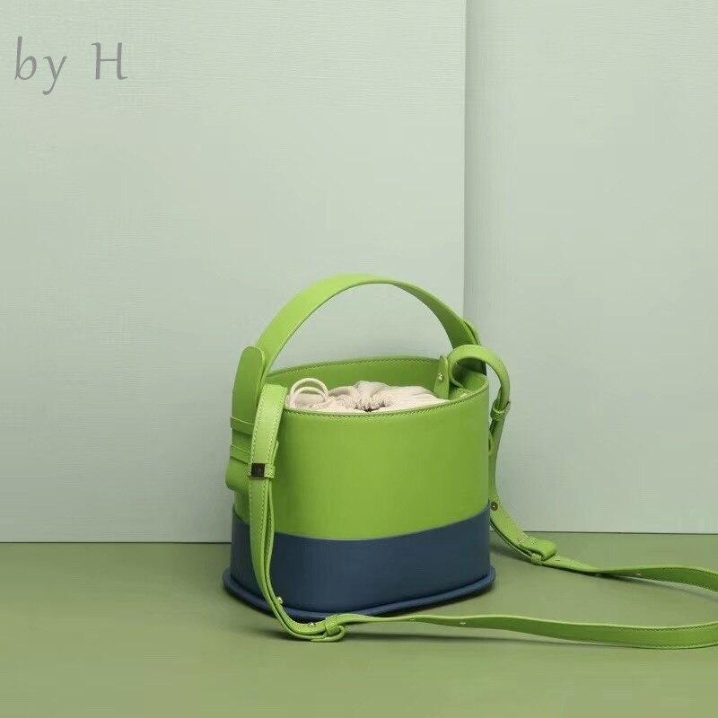 by H 2019 new green handbag fashion designers womens shoulder bag bonsai bag female bucket bag round bucket handbag high quality