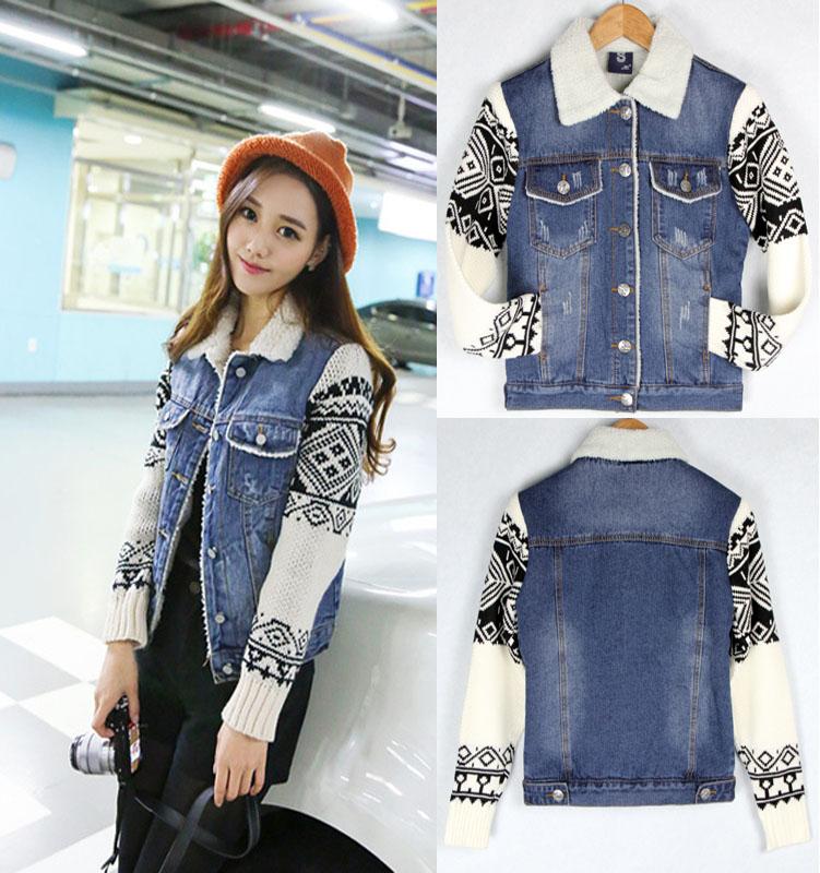 Autumn Winter Women s Basic Denim Female Jacket Slim outerwear Coat short Jeans  denim cotton-padded cf4211dfe