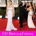 Jennifer Lopez знаменитости платье золотой глобус наград красный ковёр длинная встроенное кристалл вышивка бисером белый шифон вечернее платье