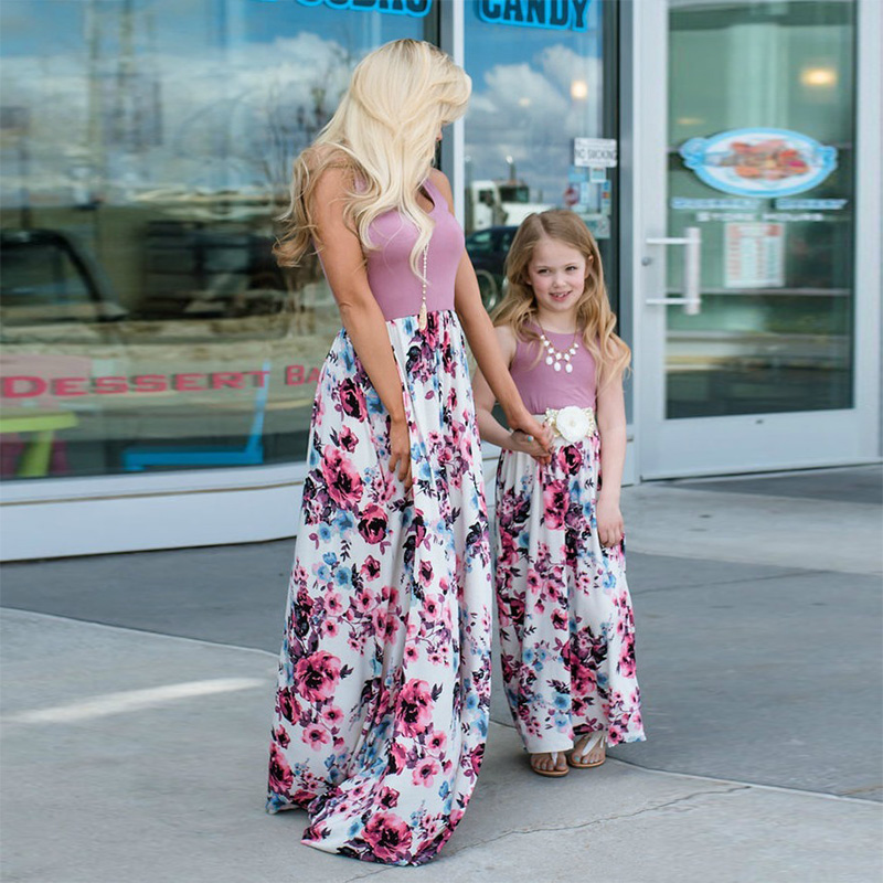 HTB1sZGmKeuSBuNjy1Xcq6AYjFXah - NASHAKAITE Mother daughter dresses Floral Printed Long Dress Mommy and me clothes Family matching clothes Mom and daughter dress
