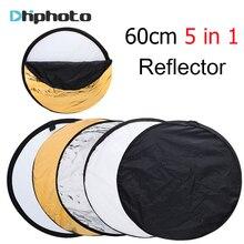 Портативный складной круглый отражатель для фотостудии  24 » 60 см 5 в 1