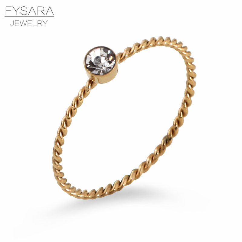 FYSARA Elegant Zirconia Crystals Finger Rings For Women Stainless Steel Rose Gold Color 1mm Thin Tail Ring Party Wedding Jewelry