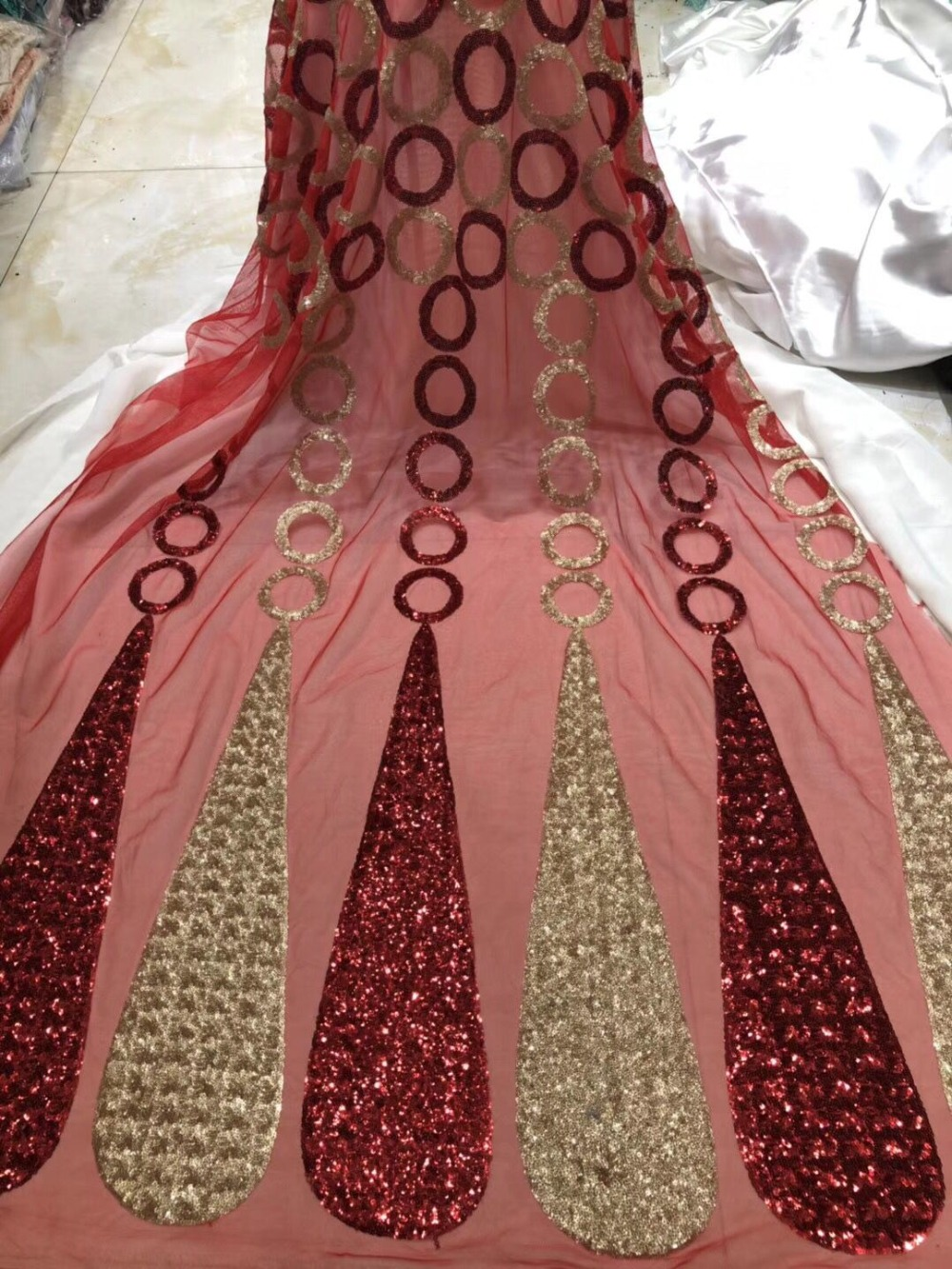 High Quality African Organza Sequin lace fabric Hot Sale Wine red Swiss Double Organza French Net