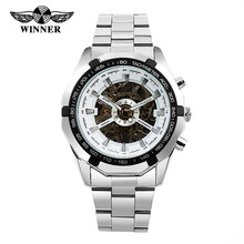 WINNER 2016 Hot Selling Luxury Men Watch Automatic Skeleton Clock Mechanical Watch Full Steel Stainless Wristwatch RelojesHombre