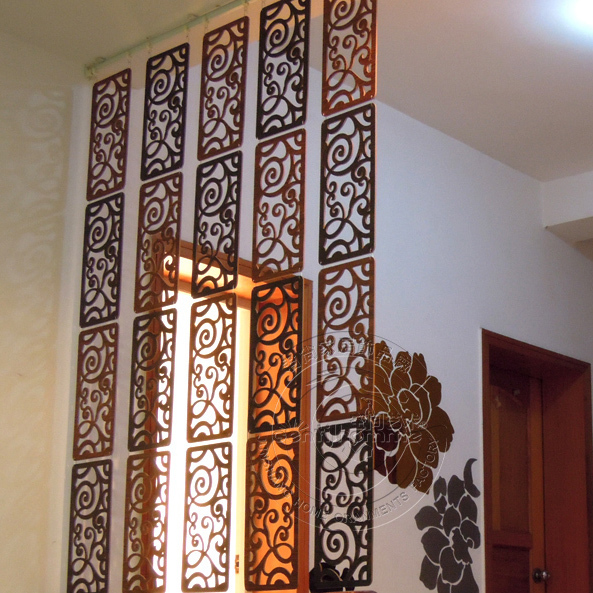 Fashion Hanging Screen Wood Partition Bedroom Wall Post Entry Living Room  Home Decoration Free Shipping 6 Pcs/lot 19*39CM