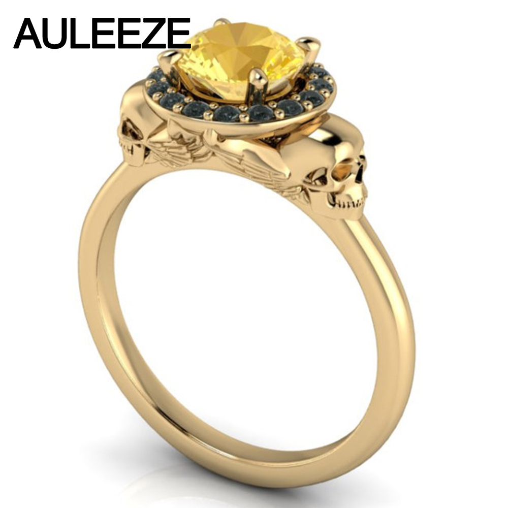 Halloween Unique Double Skull 1ct Natural Citrine 10k Yellow Gold  Engagement Ring For Women Real Crystal