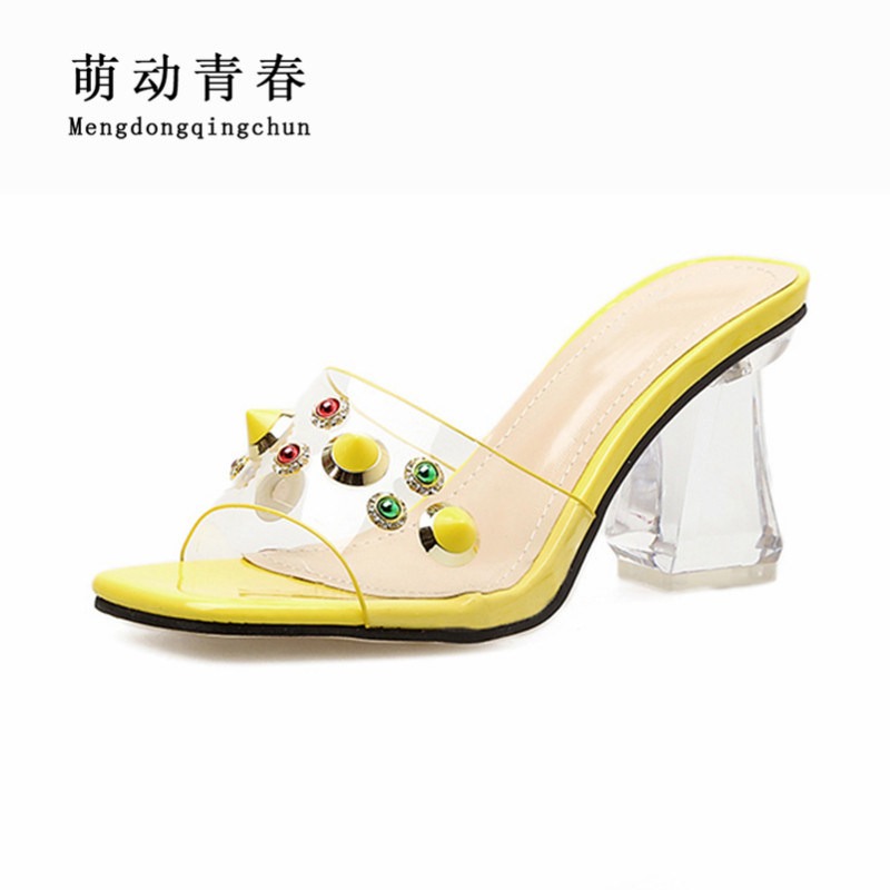 Frauen Farbe Strass Kristall pink2 red2 Hausschuhe Casual Heels Auf Mix pink1 yellow2 white High Slip Sandalen Sommer yellow1 Red black Zapatos 2019 Pvc gdwvSg