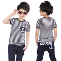 Hot Sale classic Striped Boys sets Navy short sleeve Pullover casual Sports Suit fashion clothing Casual Boys Clothing Set