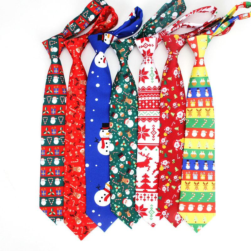 2019 Brand New Red Christmas Tie Polyester Print Santa Claus Christmas Tree Christmas Elk Christmas Gift Ties 12Colors
