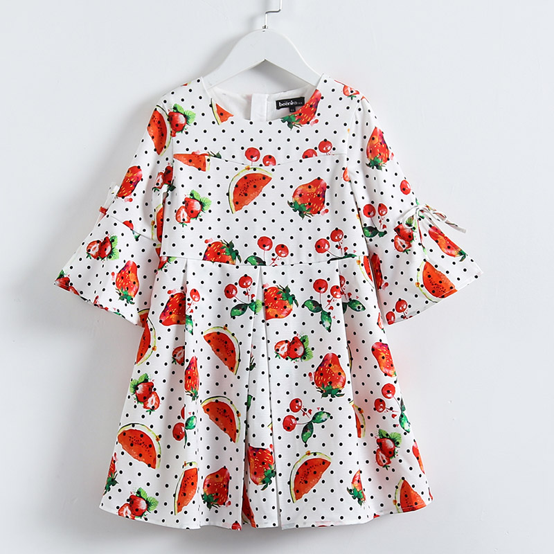 Spring Kids girls Clothing sister look clothes children Fashion Italian 3/4 sleeve floral print Dress girl party formal dresses 3 4 sleeve tribal print shift mini dress