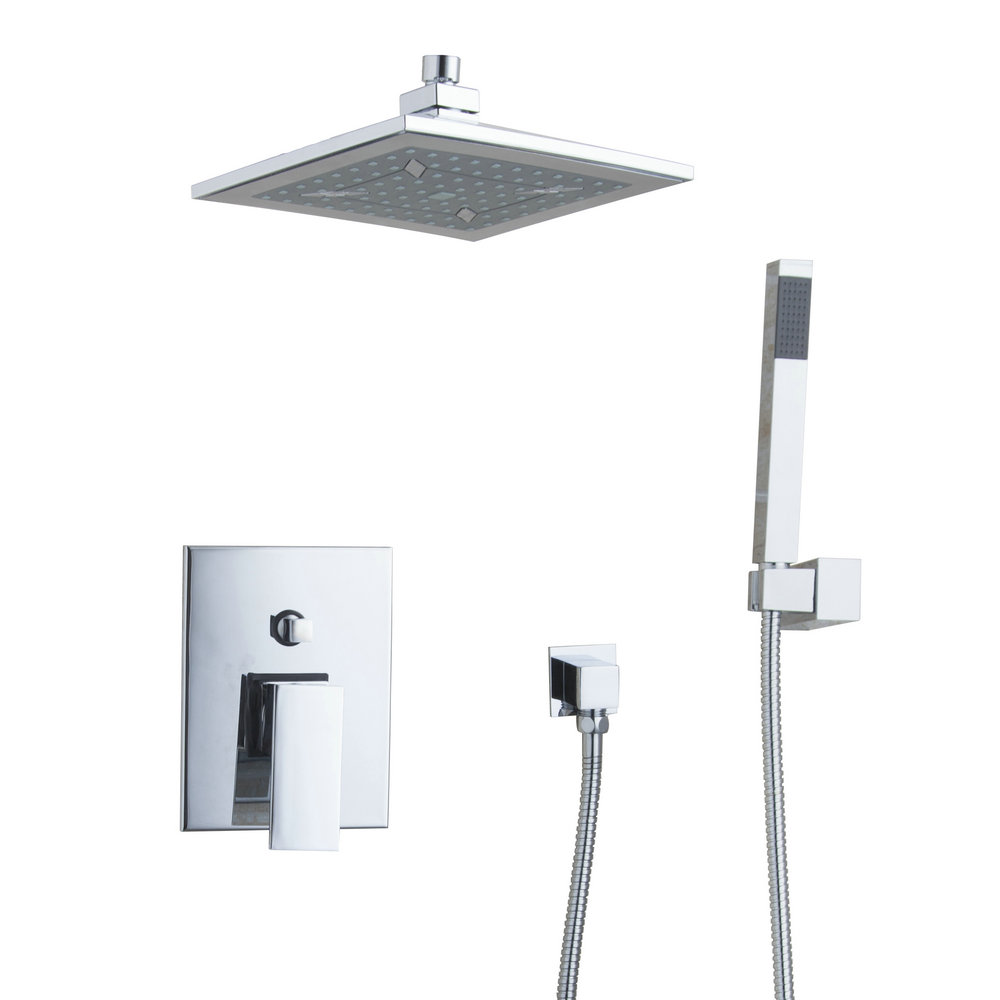 Wall Mounted Bathroom Rain Shower Faucet Set Mixer Valve With Hand Shower 57701A/2 Bath Tub Chrome Sink Faucets,Mixers & Taps  ouboni brand new arrival high quality chrome water shower faucet set bath tub shower mixers with handshower 8 rain showerhead
