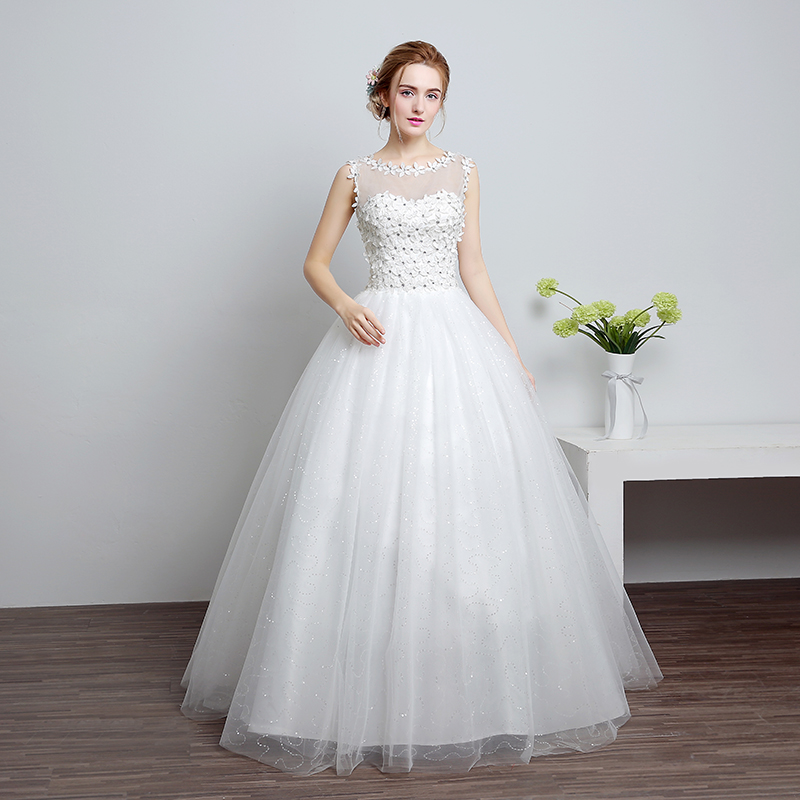 LAN TING BRIDE Ball Gown Scoop Neck Floor Length Lace Satin Tulle Custom Wedding Dresses with Lace