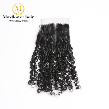 """MFH Funmi Hair Tiny Curl 4x4""""  Closure Natural Black Color Remy Human Hair Products Free Parting Or Middle Parting From 8-16"""""""