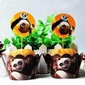 24 pc/set Kung Fu Panda papel cupcake wrappers e toppers decorações do chuveiro de bebê para crianças festa de aniversário cakecup pega toppers