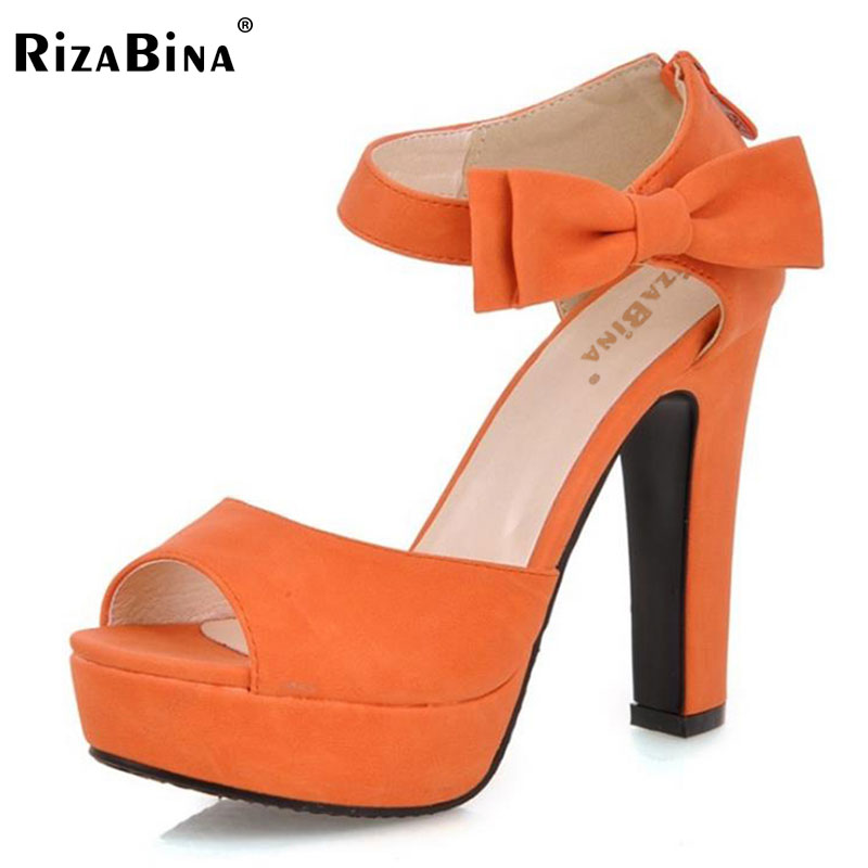 RizaBina New summer Peep toe Ankle strap orange Sweet Thick high heel Sandals Platform Lady women shoes size 31-43PA00863 2017 new summer women sandal platform thick chunky high heel ankle strap pumps round toe sweet bow heeled shoes big size