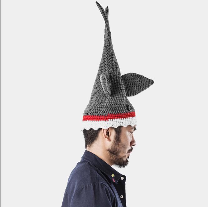 Cubic Shark model toy doll animal Handmade Knitted hats Winter Caps Men Women Funny Party cosplay costume prop creative toy gift