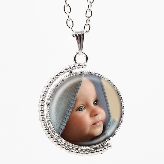 Newest personalized photo custom necklace chain vintage double sided newest personalized photo custom necklace chain vintage double sided glass pendants with family member photo aloadofball Images